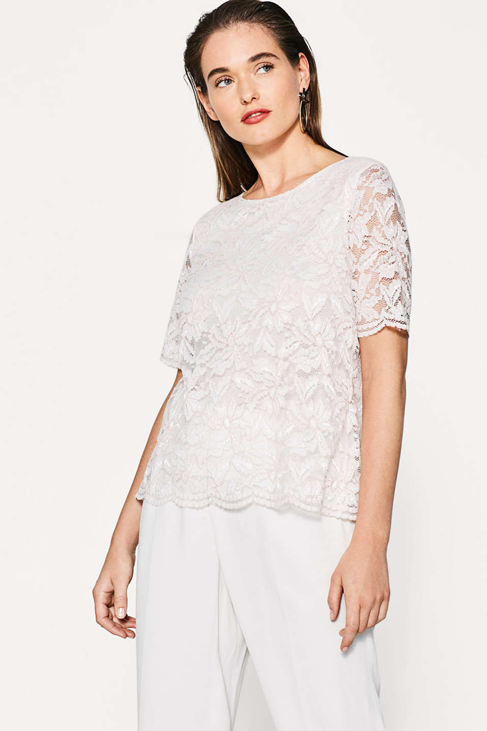 Esprit - Two-in-one lace top with back slit