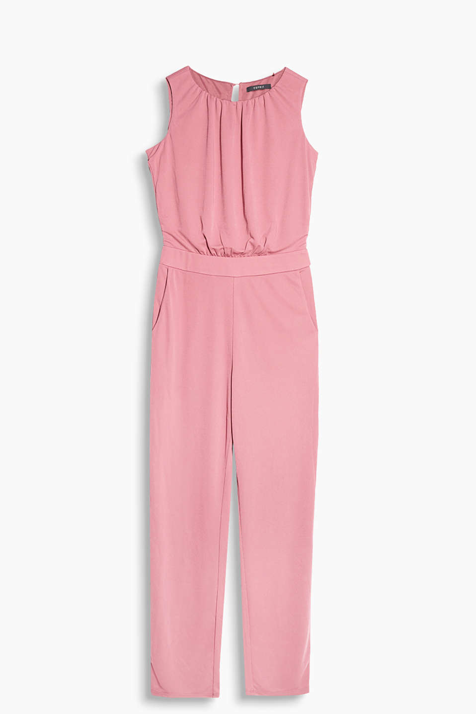 Chic and comfortable sleeveless jumpsuit in thick, beautifully draped jersey
