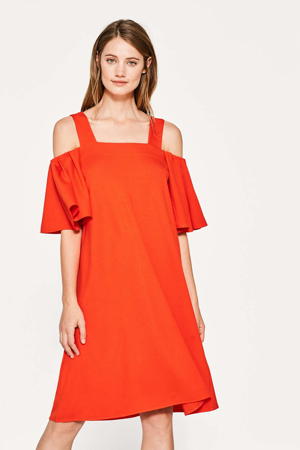 Esprit - Stretch jersey dress with flounce sleeves
