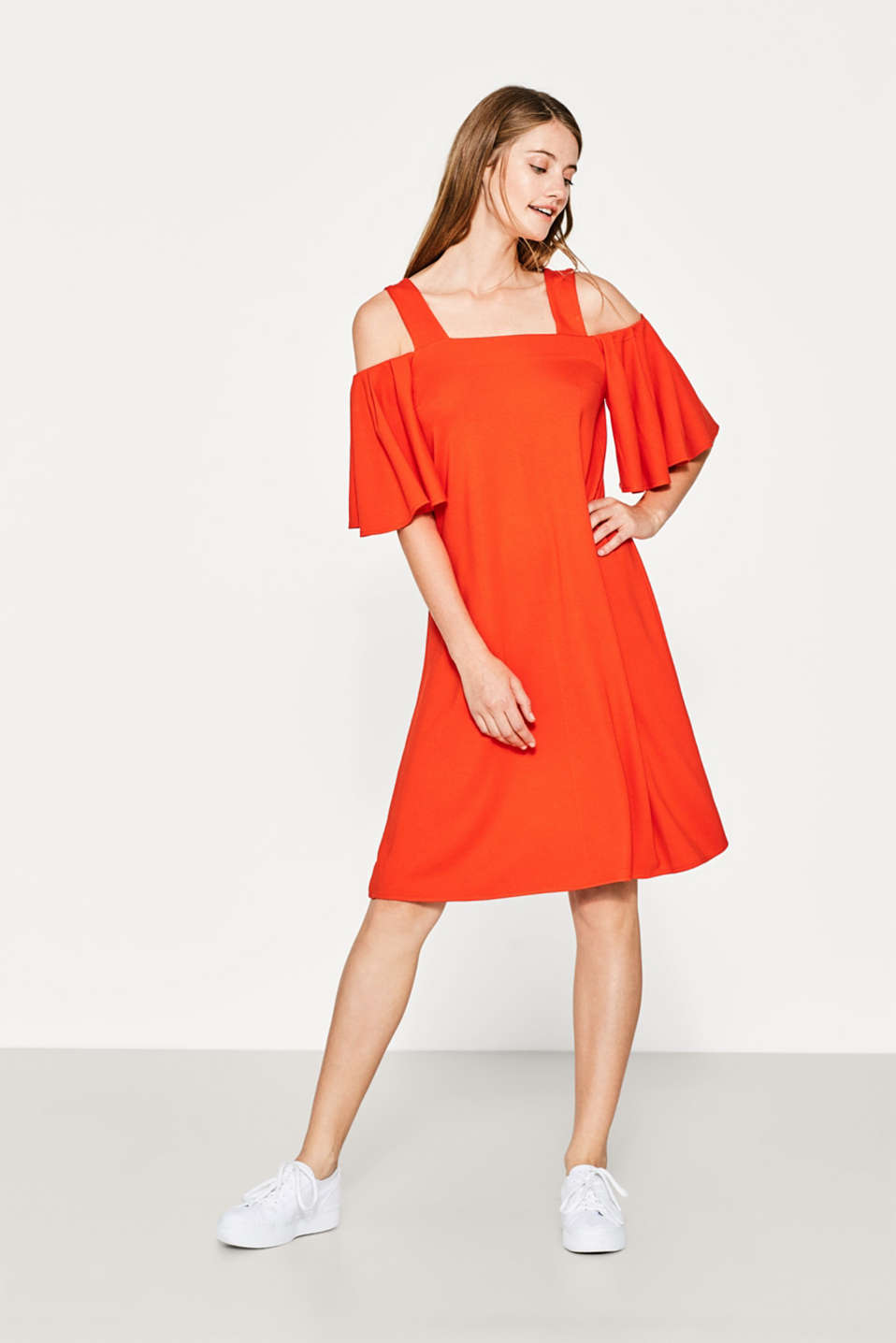 Stretch jersey dress with flounce sleeves
