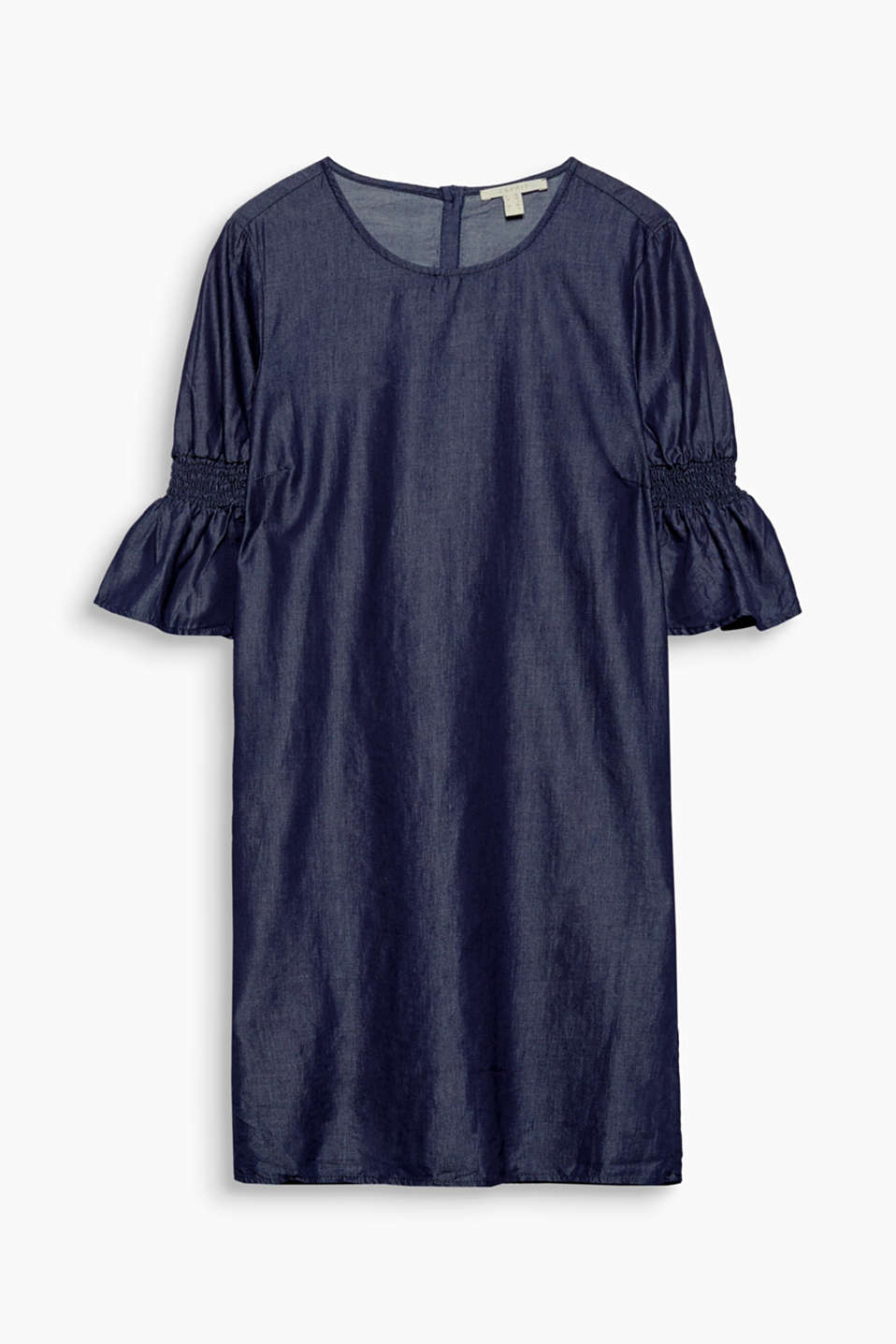 Shimmering denim dress with flounce sleeves, cotton blend
