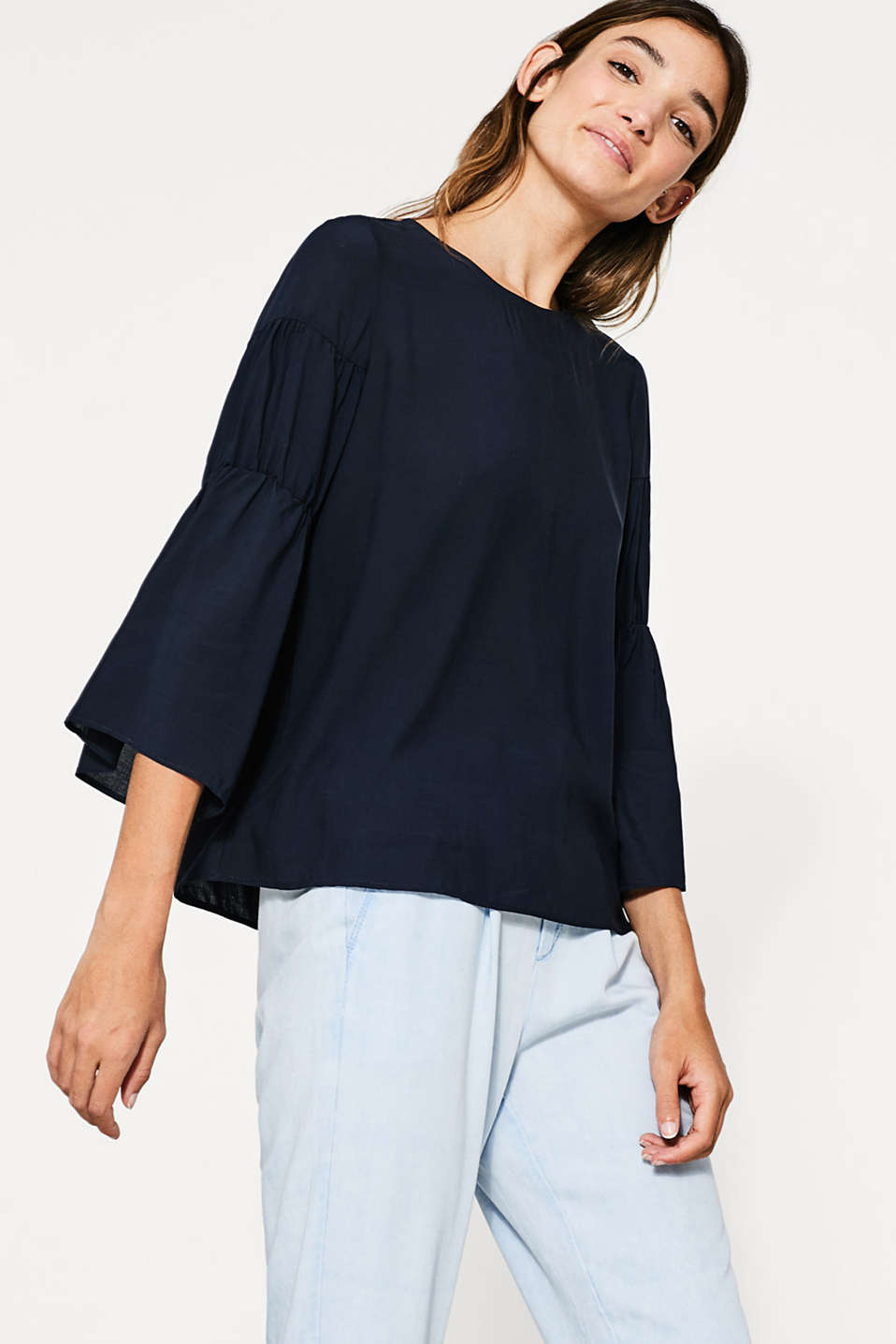 Esprit - Floaty blouse with trumpet sleeves