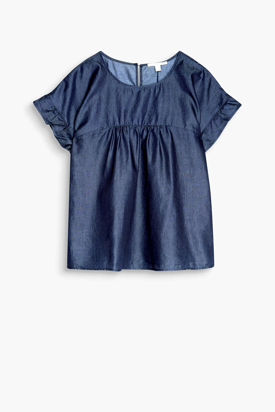 Softly draped blouse in a fashionable denim style with a cut-out on the back and lightly ruched sleeves