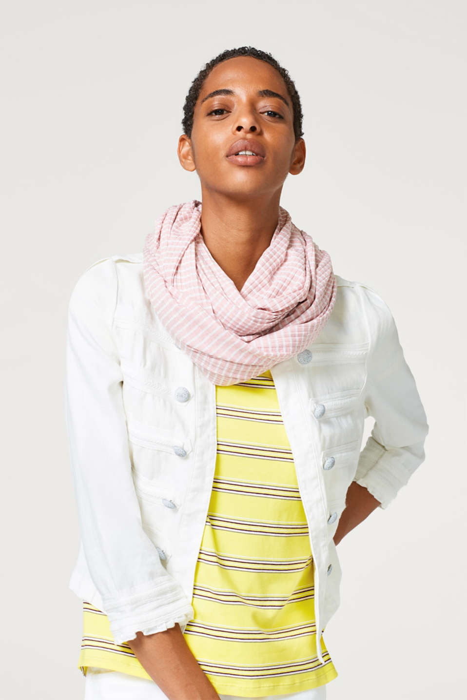 Striped snood in ribbed jersey