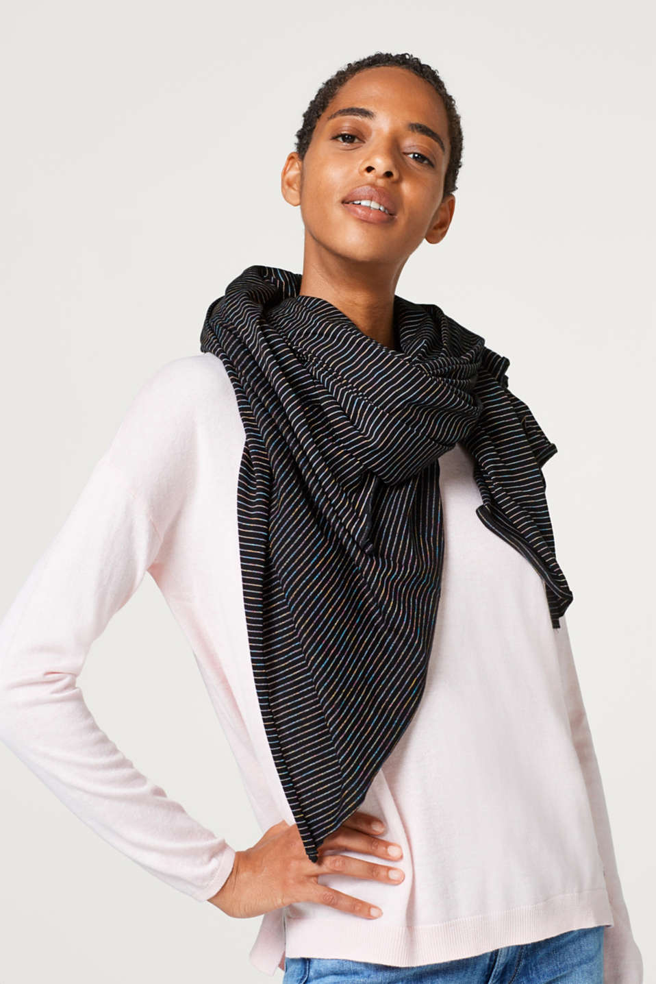 Oversized scarf with shimmering stripes