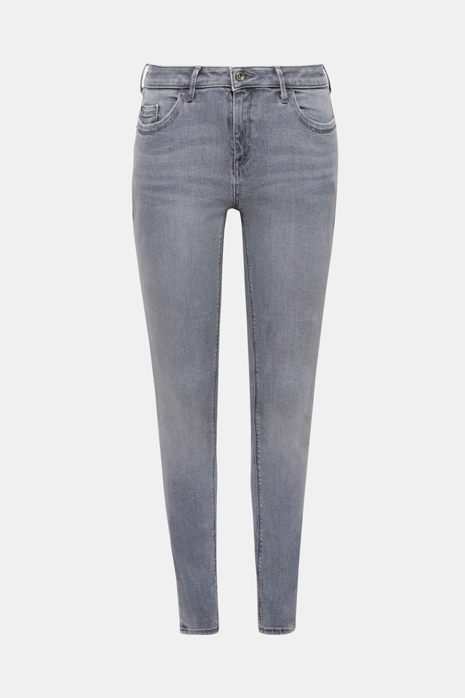 These skinny, five-pocket jeans made of figure-shaping, grey stretch denim guarantee a fantastic fit and a sensational, sexy silhouette.