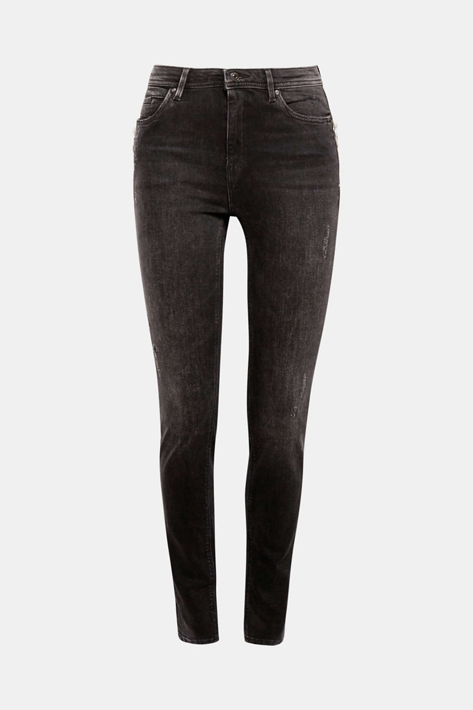 Decorative zip with ring pendants on the pockets and cool vintage effects give these skinny stretch jeans with a high rise waist their trendy look!