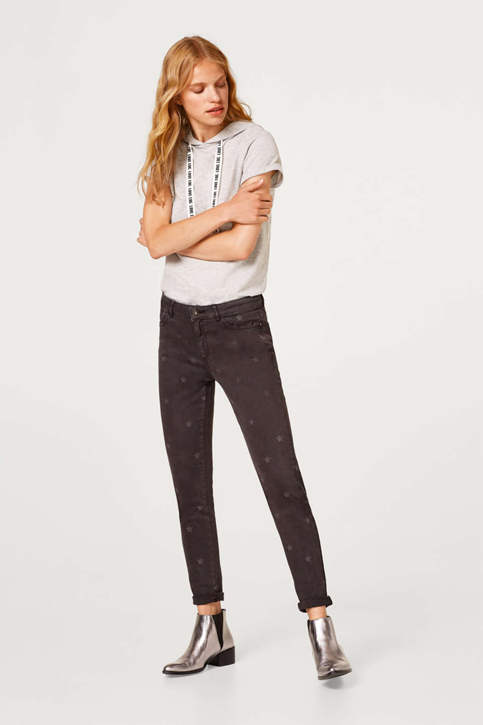 edc - Cropped stretch trousers with star print