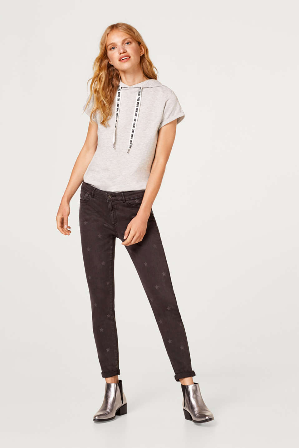 Cropped stretch trousers with star print