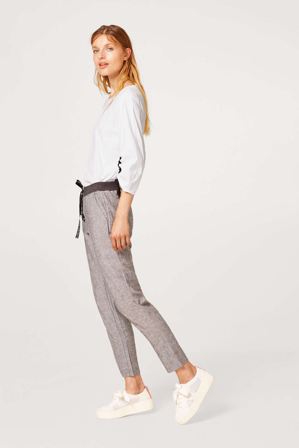 Melange tracksuit bottoms with linen