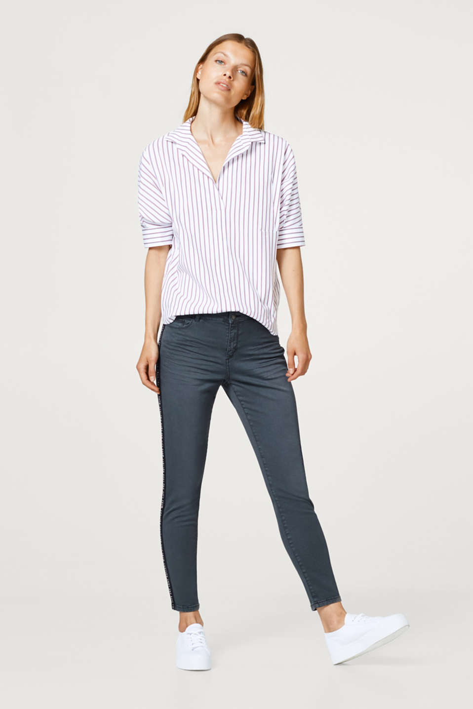 edc - Stretch trousers with statement tuxedo stripes
