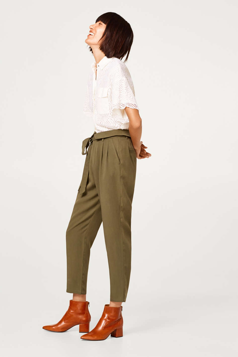 edc - Lyocell turn-up trousers and belt