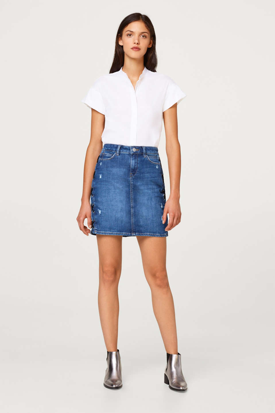 edc - Stretch denim skirt with lacing