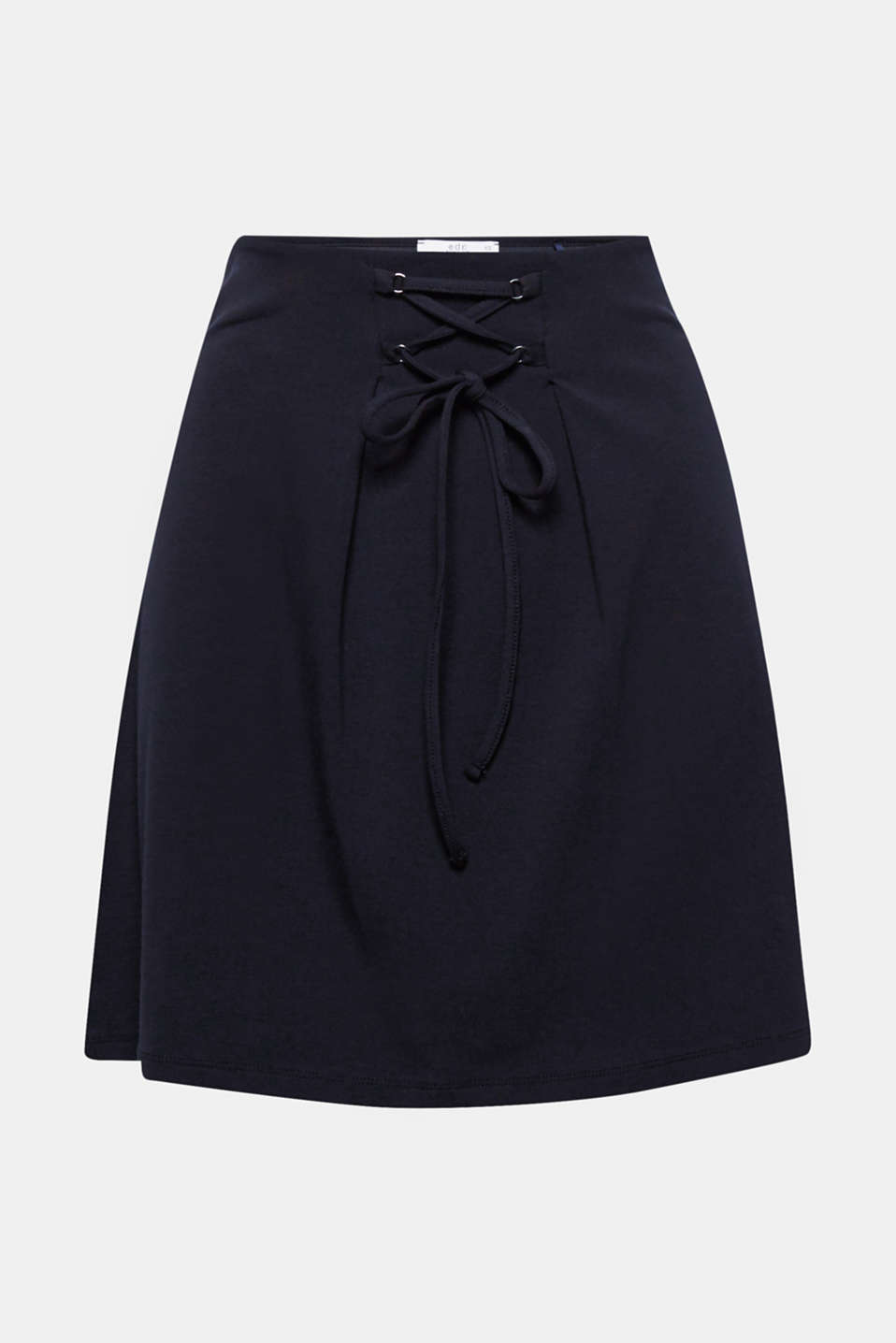 This flared stretch jersey skirt with decorative lacing is wonderfully unfussy, summery and lightweight!