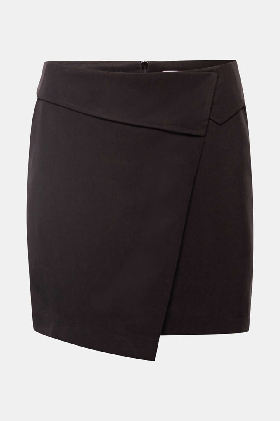 This soft lyocell skirt adds sophisticated new style to your wardrobe with its asymmetric wrap-over effect and beautiful turn-down waistband.