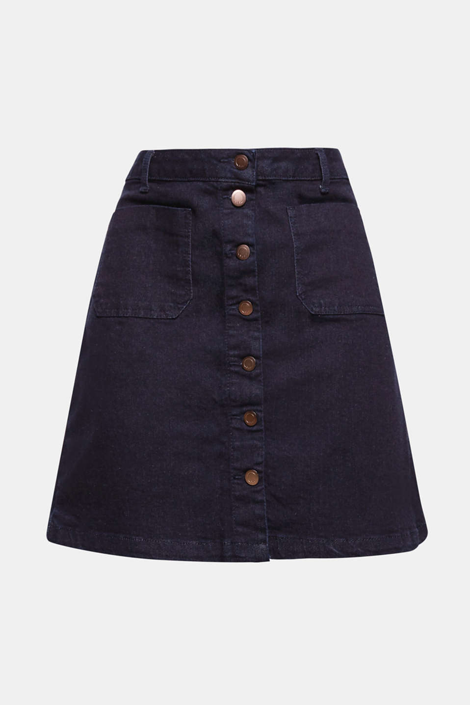 The patch front pockets and trendy button placket give this flared dark denim skirt its stylish, retro look!