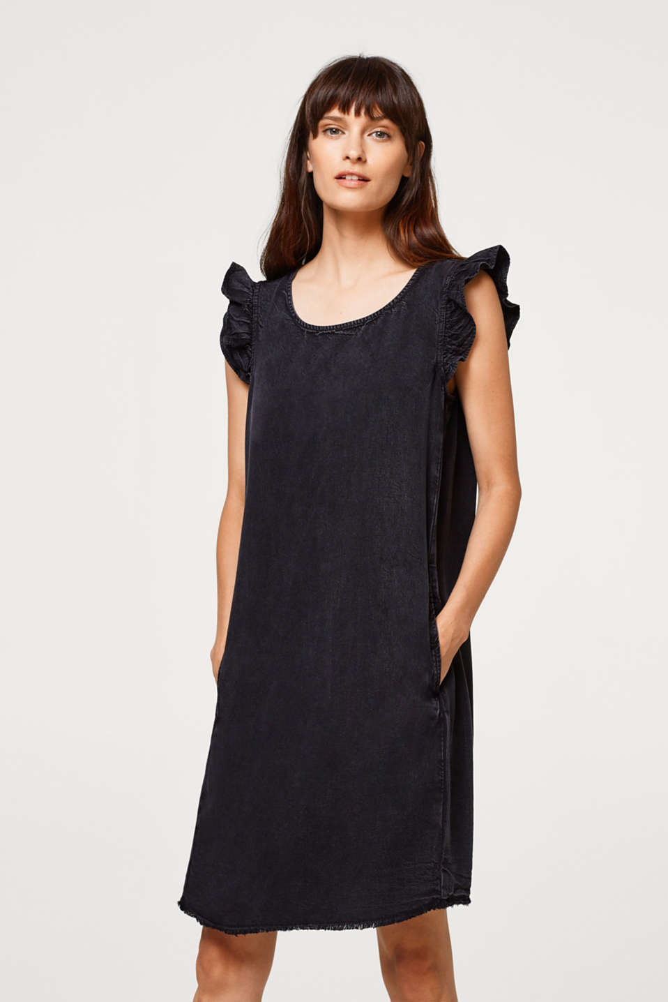 edc - Lyocell dress with frilled sleeves and fringed hem