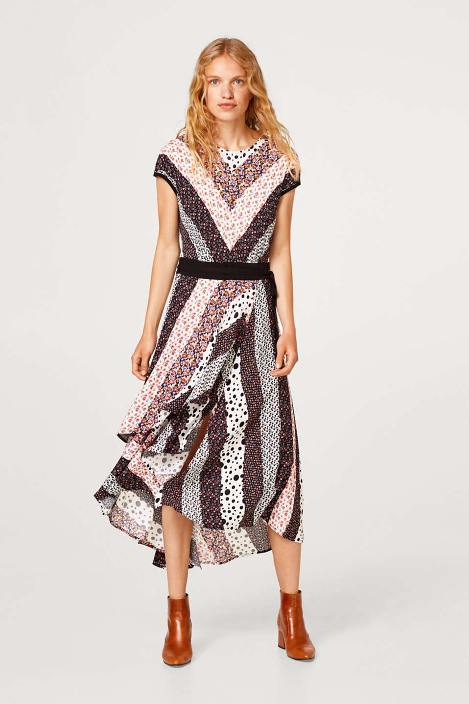 Dress in a mix of patterns with a high-low hem