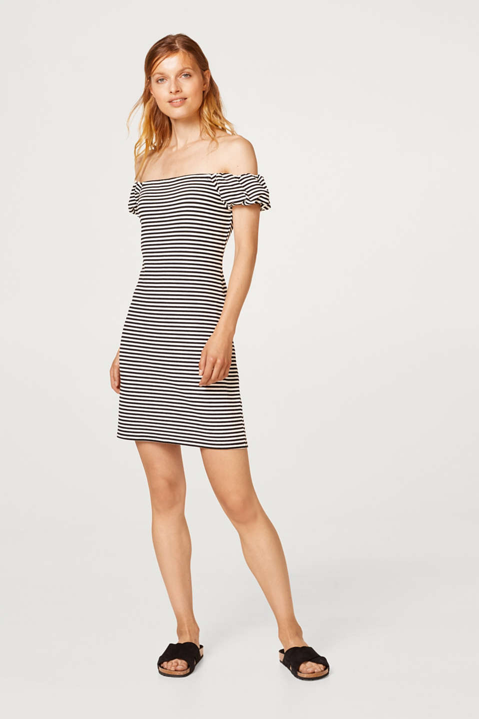 Off-the-shoulder dress in stretch jersey