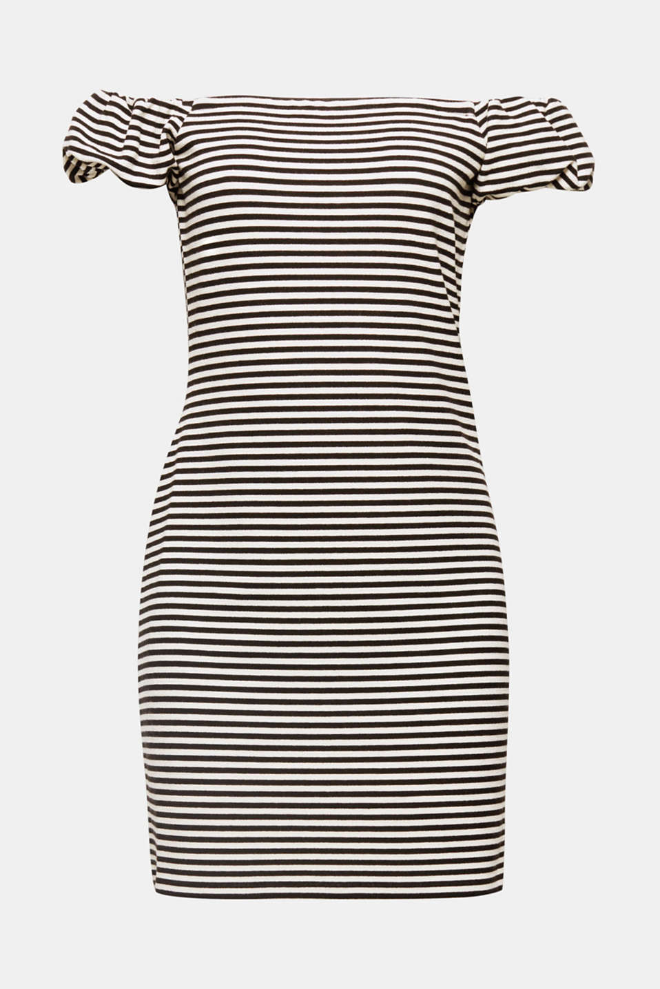 The off-the-shoulder style with small puff sleeves and the sporty stripes give this figure-enhancing dress in dense stretch jersey its cheeky look!
