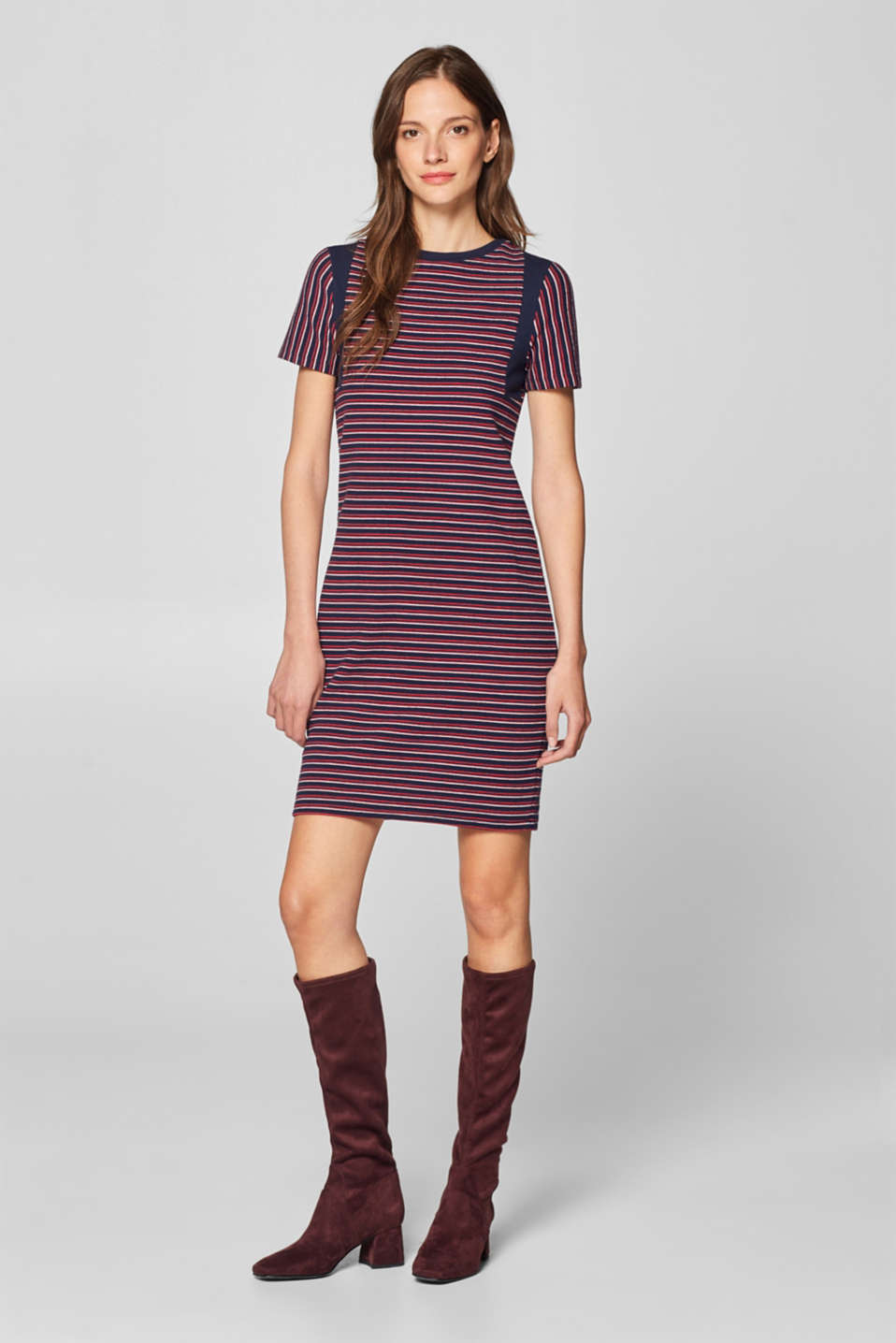 edc - Striped dress in textured jersey