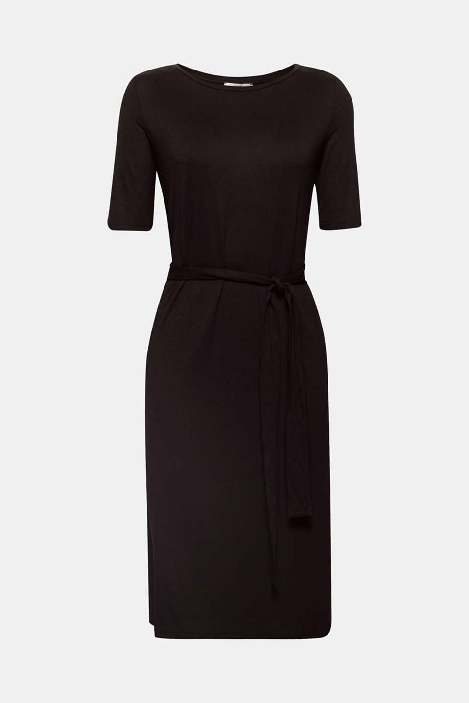 This jersey dress is both minimalist and feminine with its moderately figure-skimming midi silhouette which can be nipped in beautifully at the waist with ties attached at either side.