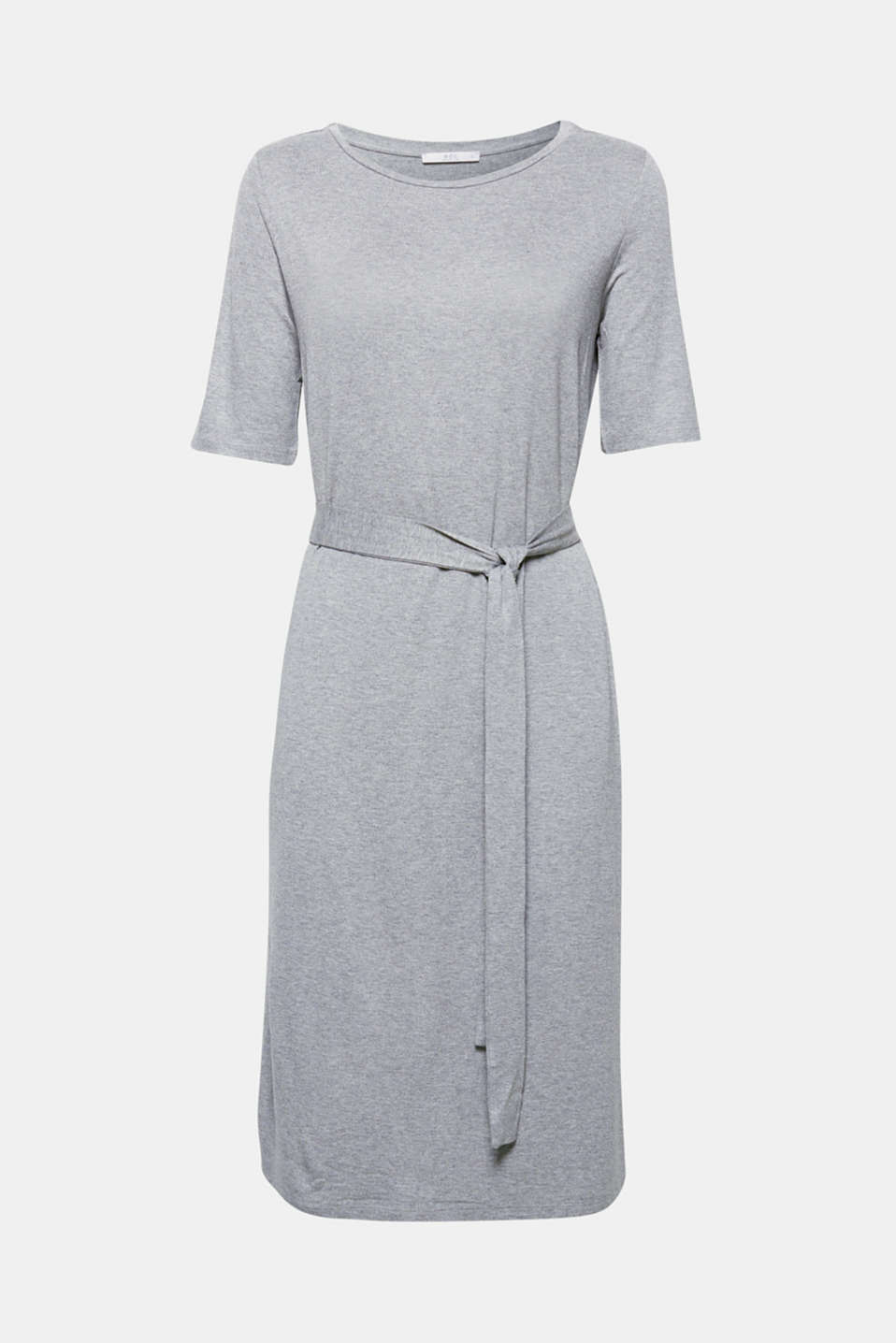 Loose and comfortable for every figure type, this dress made of mottled stretch jersey in a trendy midi length features a smocked waist at the back and a fixed tie-around belt!
