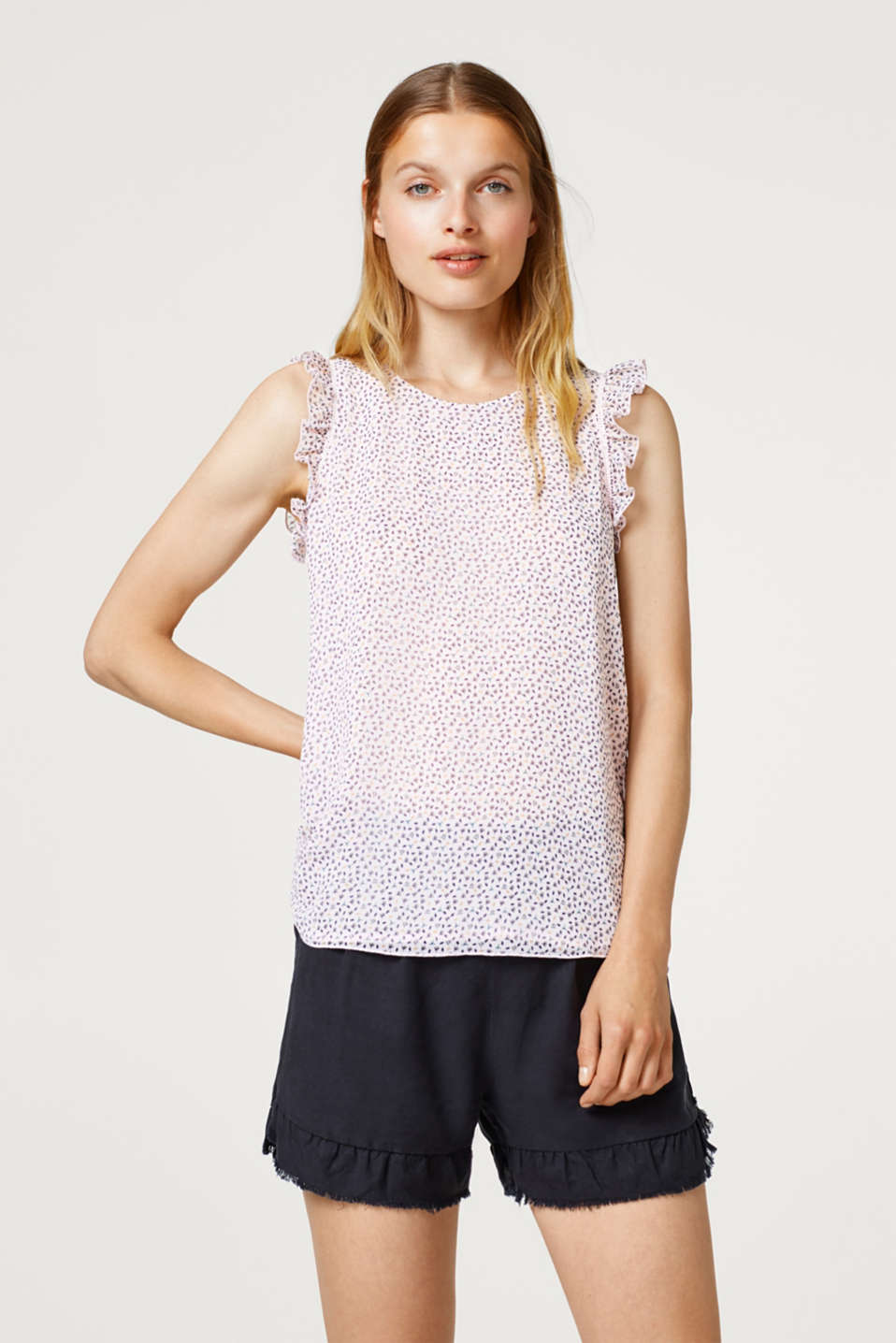 edc - Chiffon blouse top with a print and frills