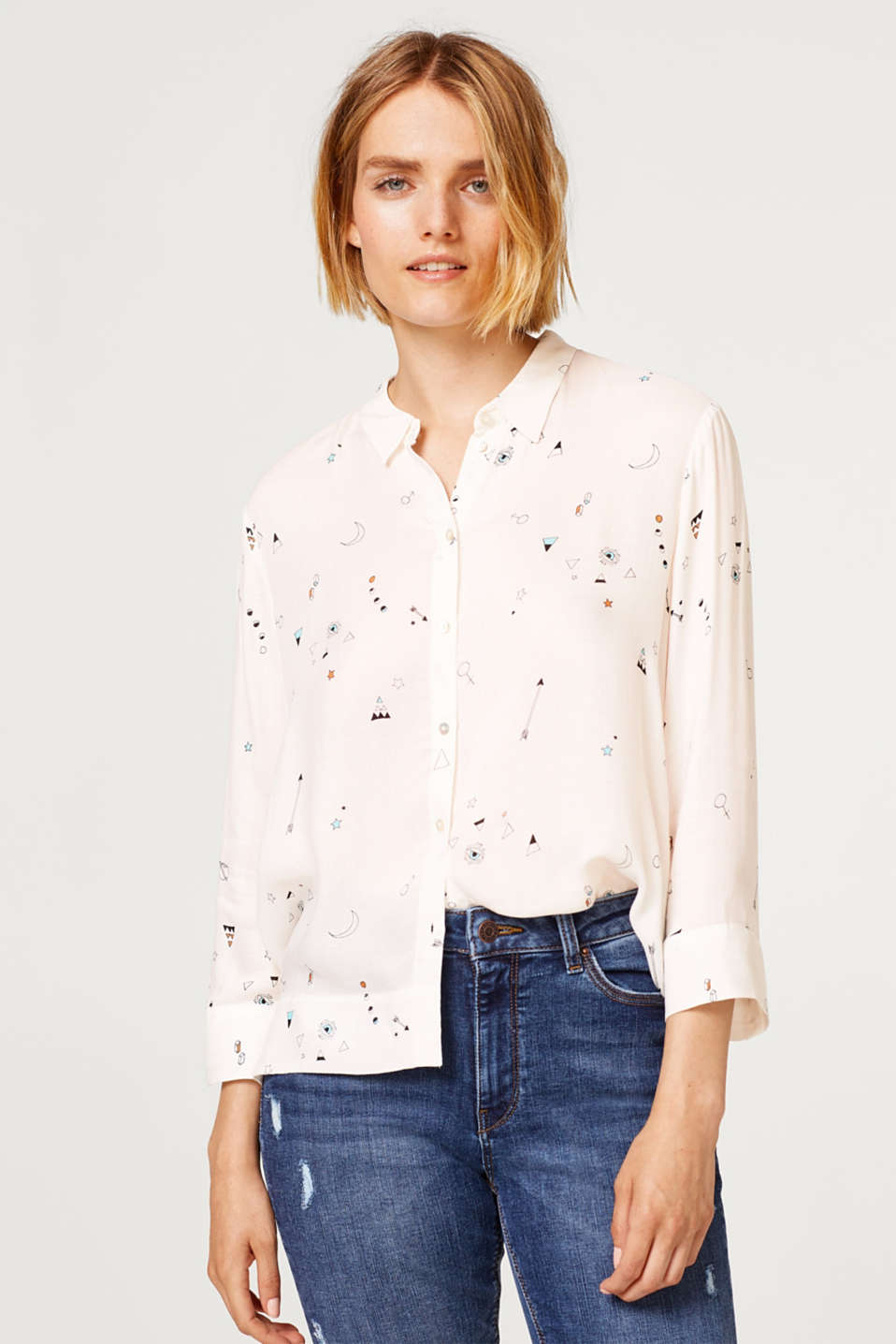 edc - Boxy crêpe blouse with printed motif