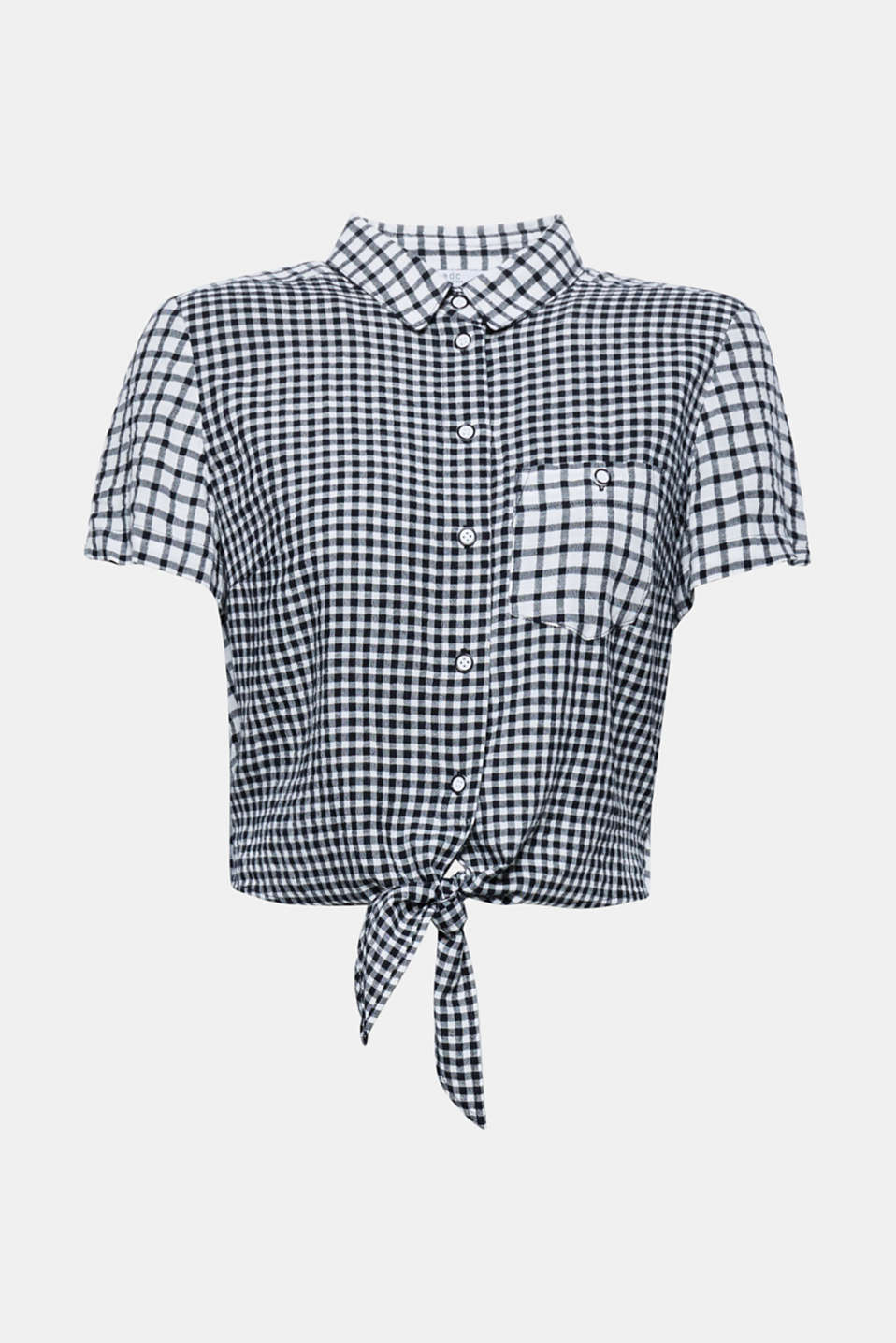 Don't tie yourself in knots! This woven blouse impresses with a cropped silhouette, varying check pattern and knot details.
