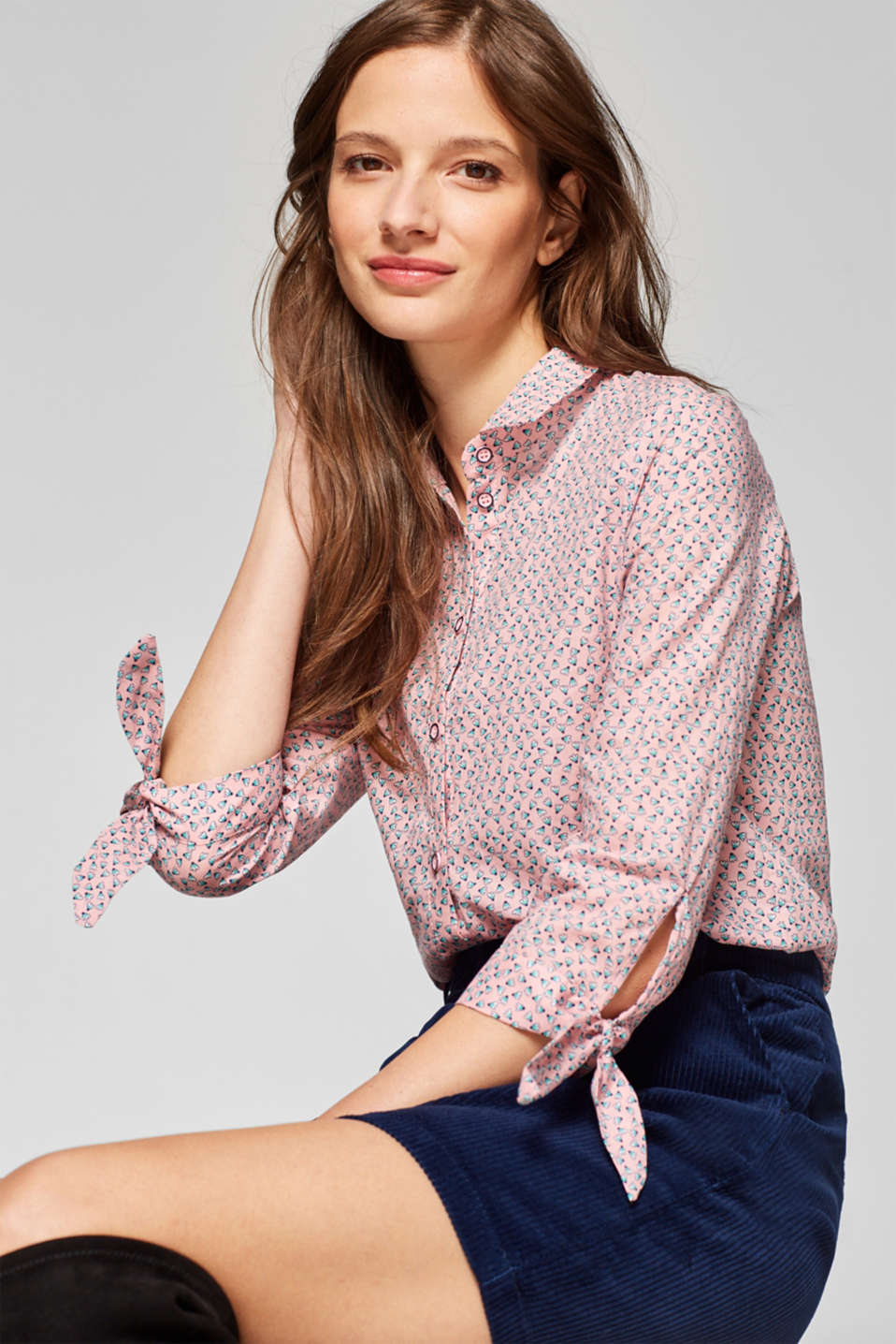 edc - Blouse with bow details, 100% cotton