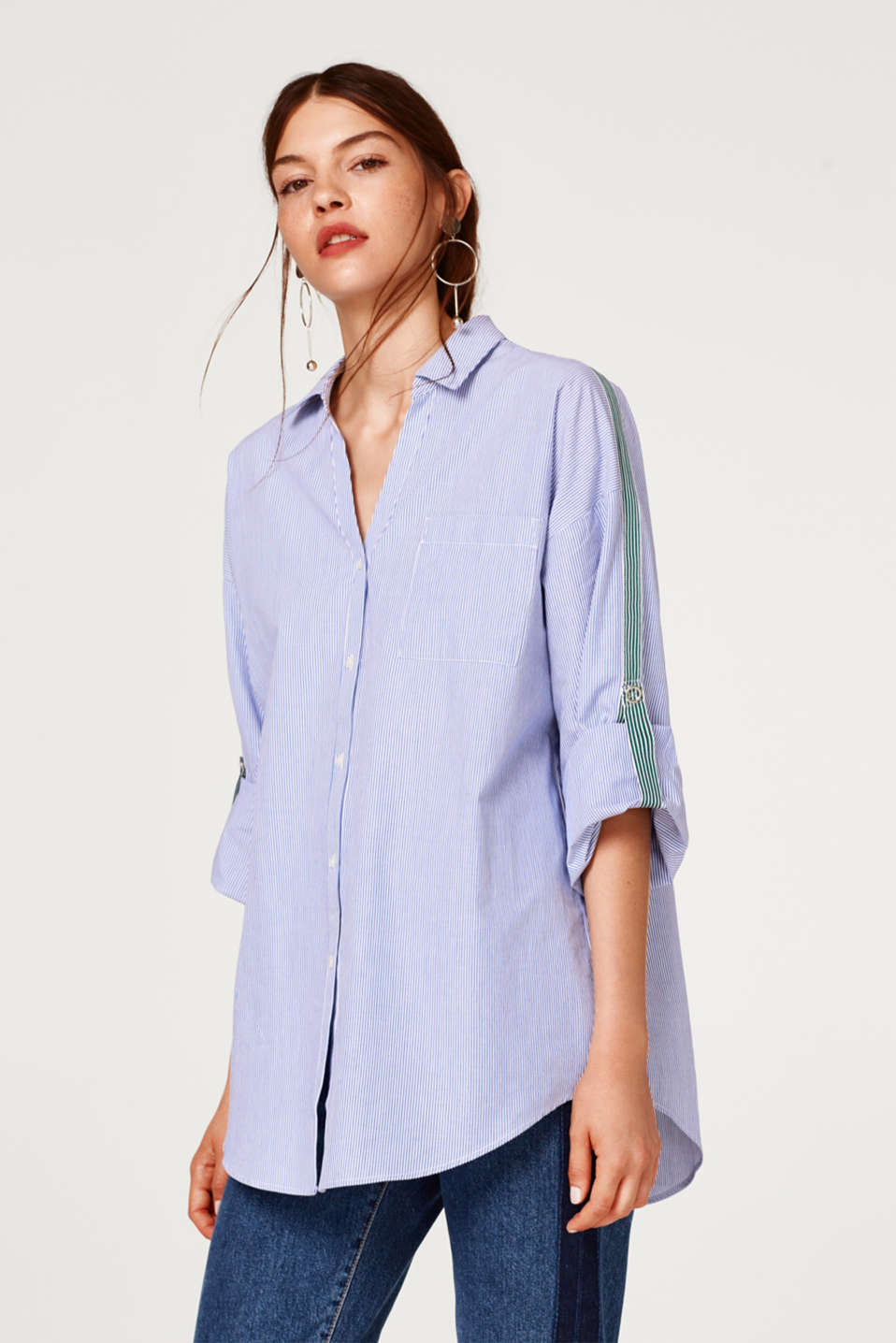 edc - Oversized blouse with tuxedo stripes, 100% cotton