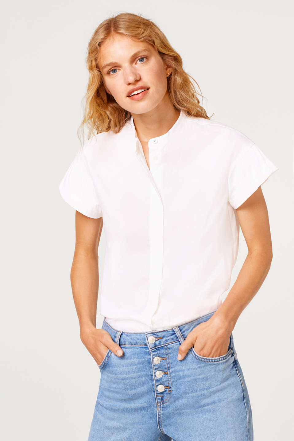 edc - Stretch blouse with flounce sleeves