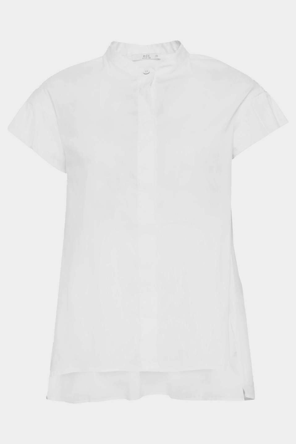 How to make a white blouse super trendy: give it a subtle stand-up collar, a concealed button placket, short flounce sleeves and a high-low hem!