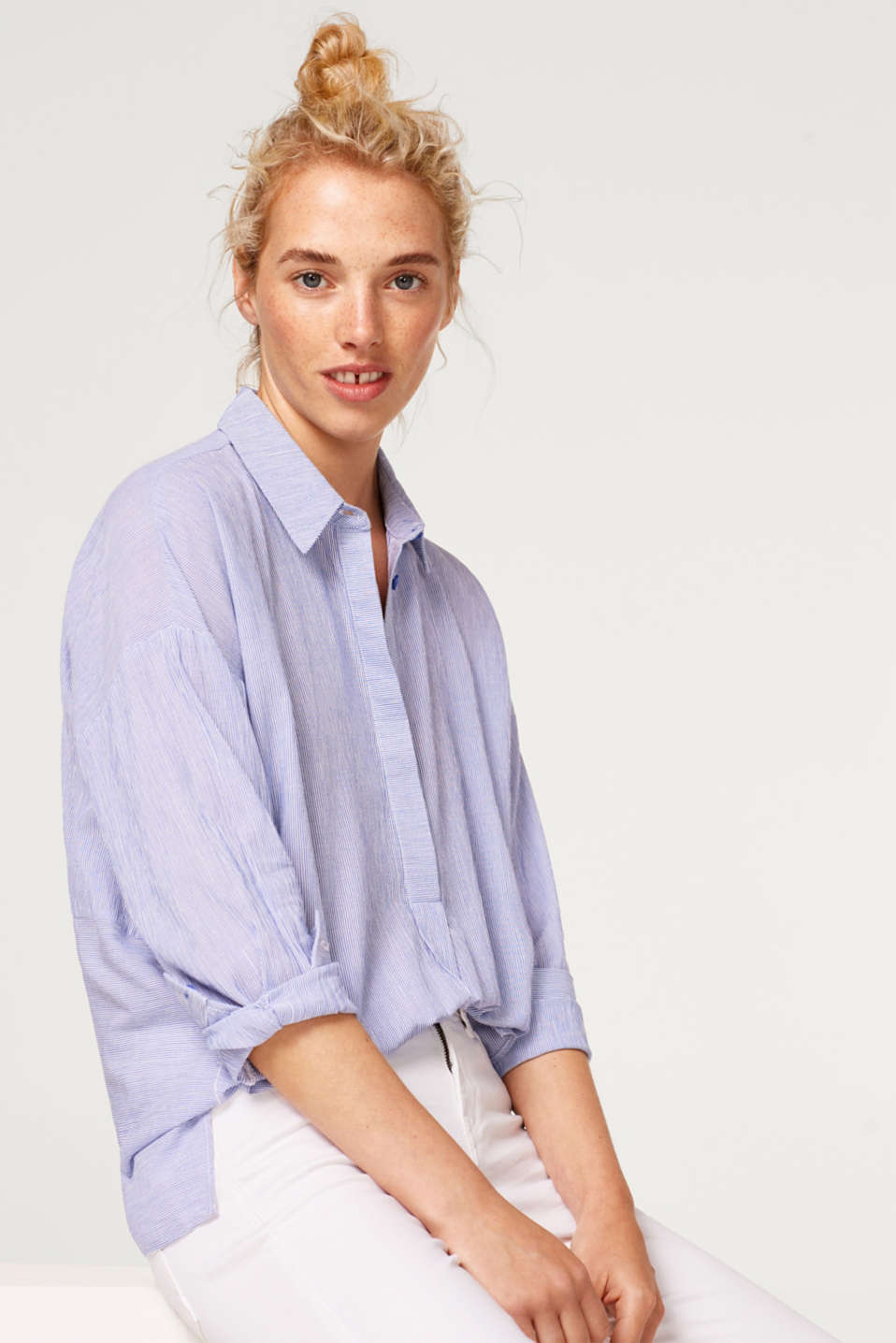edc - Striped blouse with hem slits