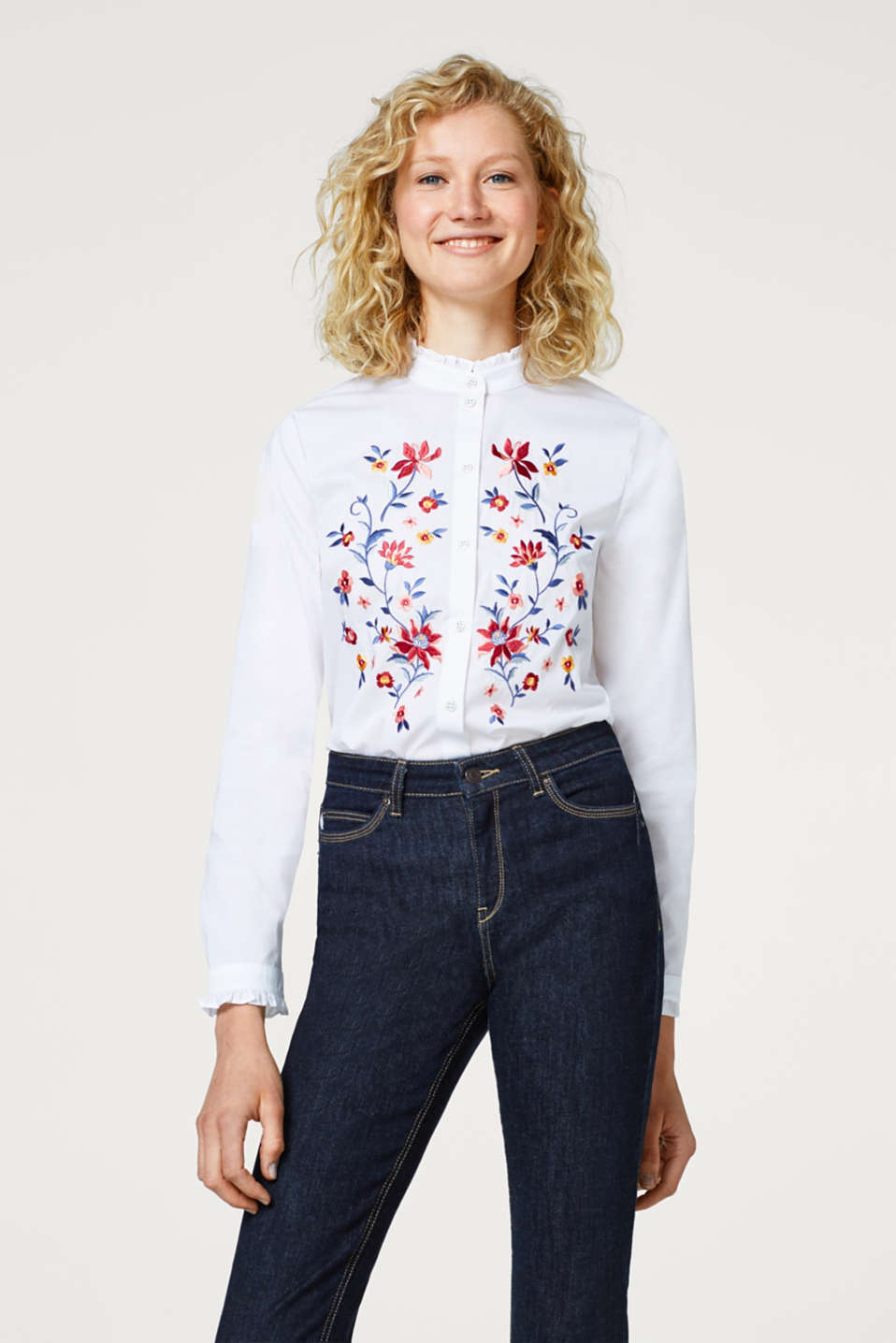 edc - Stretch blouse with frill trims and embroidery