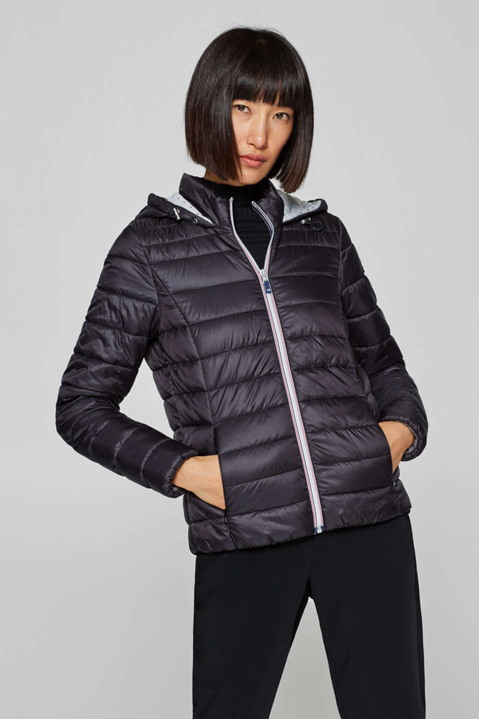 edc - Lightweight quilted jacket with a jersey hood