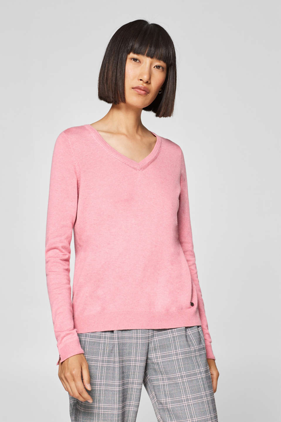 edc - V-Neck-Pullover mit Organic Cotton