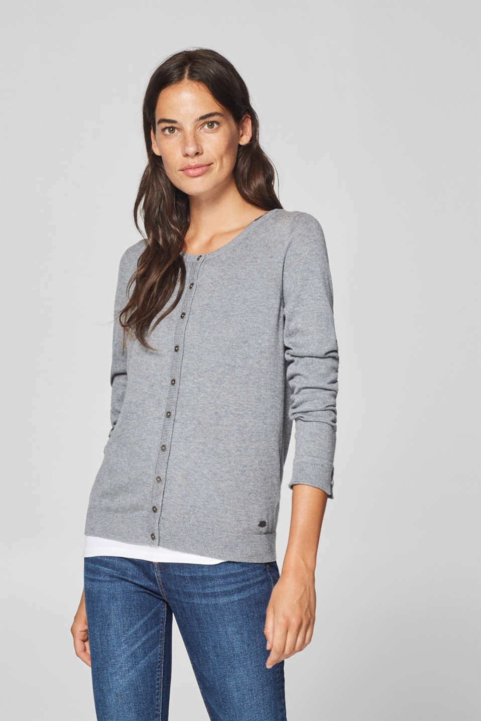 edc - Round neck cardigan containing organic cotton