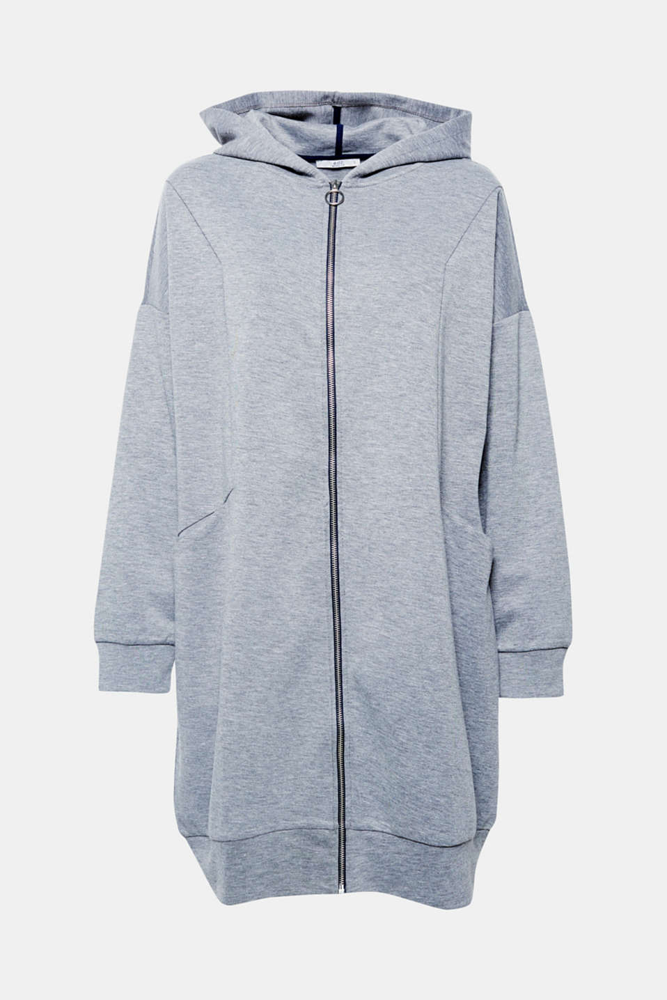 For indoors or outdoors: this long cardigan with a zip and hood will keep you casual and warm.