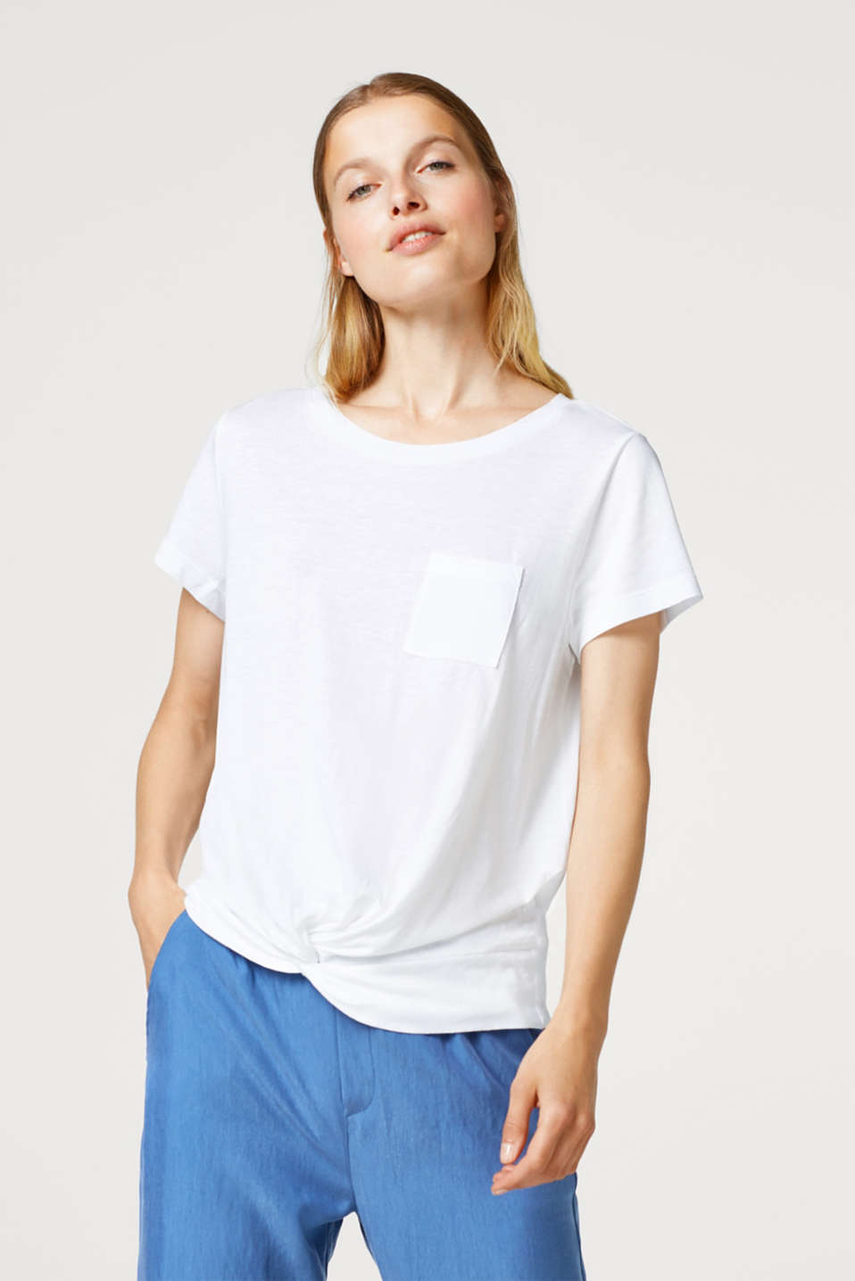 edc - T-shirt with knit details, in a cotton blend
