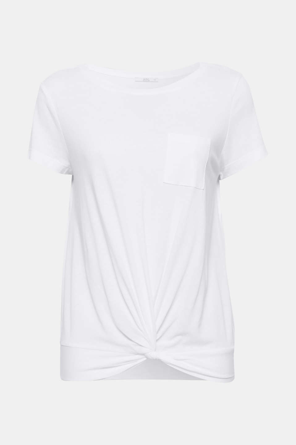 Your basic update: the pretty knot details on the front hem of this T-shirt create a striking look.