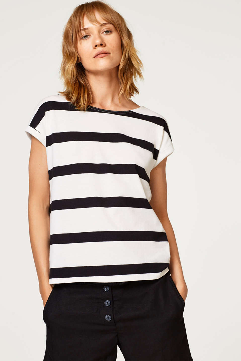 edc - Striped top with a sophisticated back: