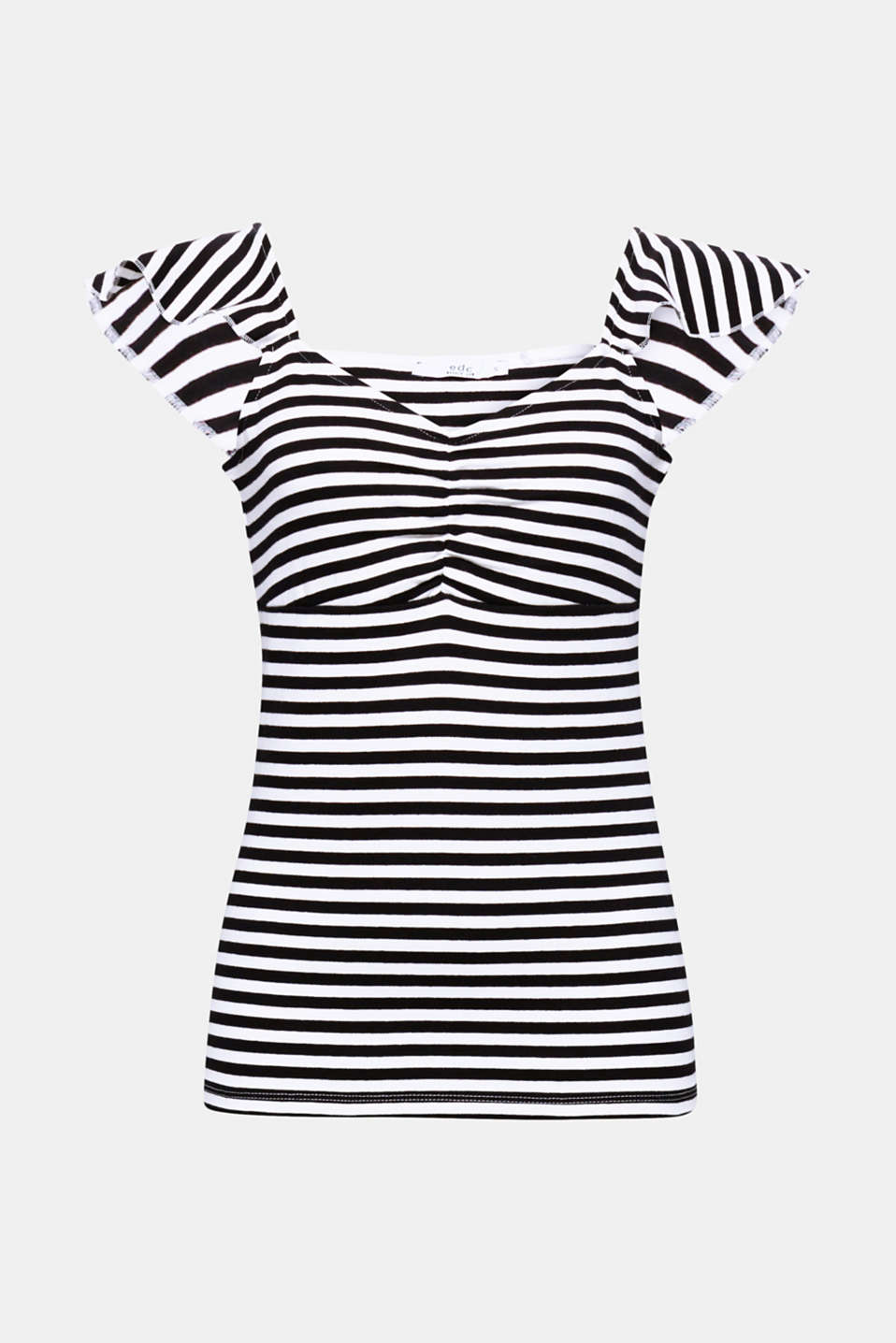 A match made in heaven: Sporty stripes and pretty wing sleeves give this stretch T-shirt in dense jersey its sophisticated fashionable look!