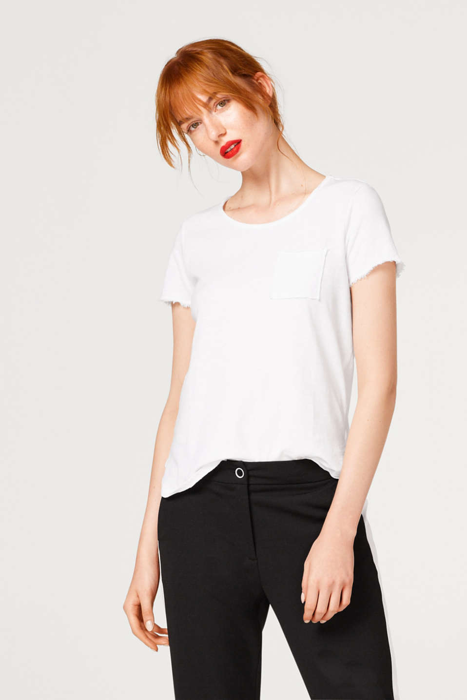 edc - Slub T-shirt with fringe details