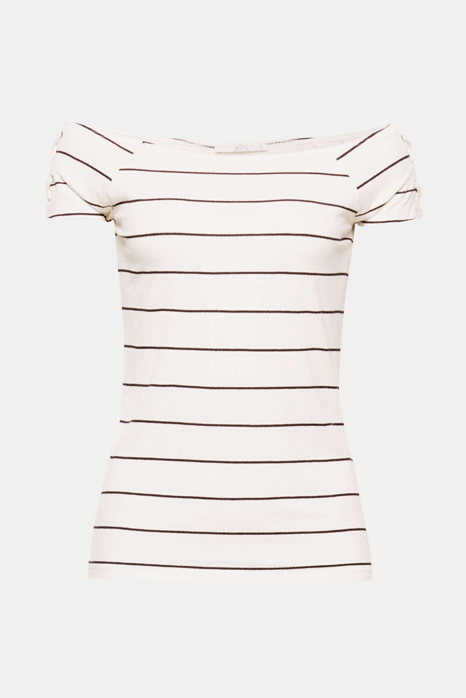 Sophisticated lace-up effects accentuate the sexy shoulders that this ribbed off-shoulder top with nautical stripes reveals!