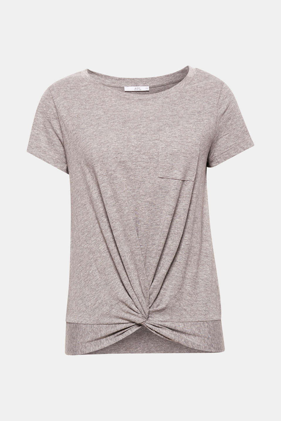 Relaxed cut, charming detail: This casual, lightweight cotton T-shirt features an unexpected, decorative draped effect on the front of the hem