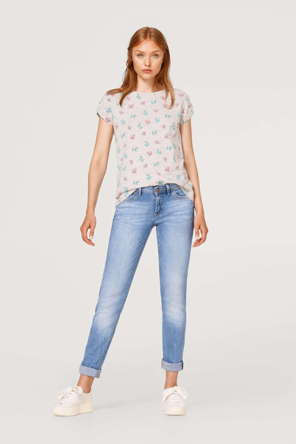 Mottled printed T-shirt with cut-outs