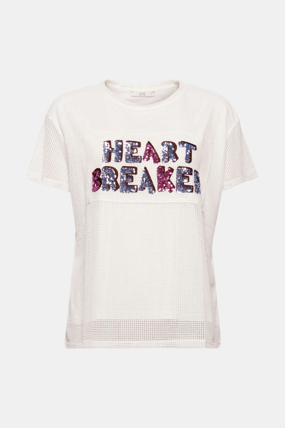 Heart-breaker: this T-shirt in mesh fabric faced with opaque lining is an absolute eye-catcher thanks to its shimmering sequin lettering!
