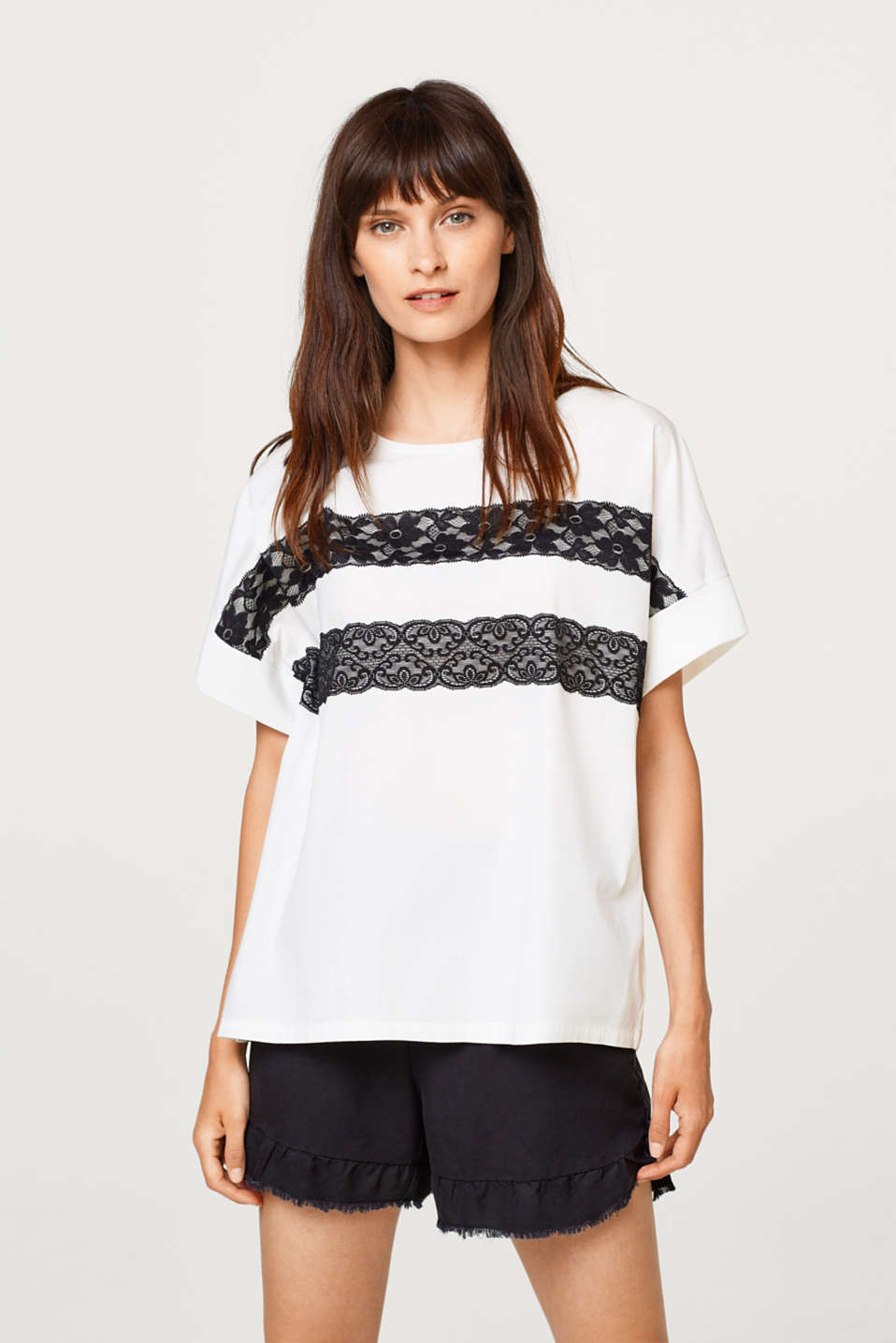 edc - Oversized mixed material top, 100% cotton